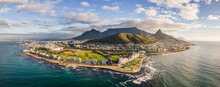 Panoramic Aerial View Of Lion's Head, Green Point Stadium, Table Mountain And Mouille Point Lighthouse In Summer From Atlantic Seaboard Sea Point Cape Town, South Africa