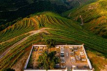 Aerial View Of A Cemetery Above The Vineyards Terraces