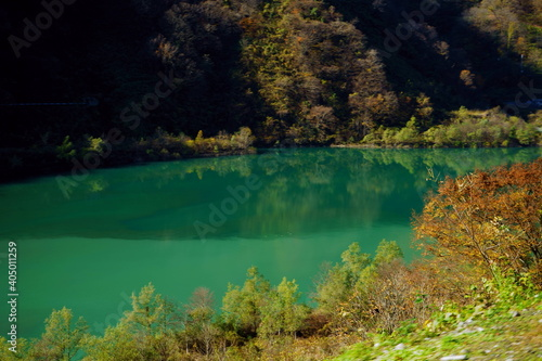 Obraz Scenic View Of Lake In Forest During Autumn - fototapety do salonu