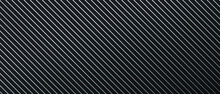 Black Horizontal 3D Stripes. Dark Geometric Grid Diagonal Lines Background. Modern Dark Abstract Vector Texture. Abstract Technology Futuristic Concept Digital. Black Minimalist Background With Ribbed