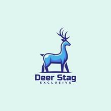 Vector Logo Illustration Deer Simple Mascot Style.