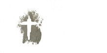 Ash Wednesday Word Written In Ash And Jesus Cross As A Religion Concept.Ash Wednesday Is A Christian Holyday Of Prayer And Fasting, Forgiveness Before Easter.Christian, Catholic.Lent Day.isolated.