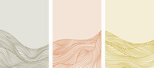 Set Of Abstract Art Background With Wavy Topography Strip Line. Art Landscape Template With Geometric Elements For Concept About Minimal Mountain , Hill , Wave Form.