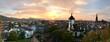 Leinwandbild Motiv High Angle View Of Buildings Against Sky During Sunset