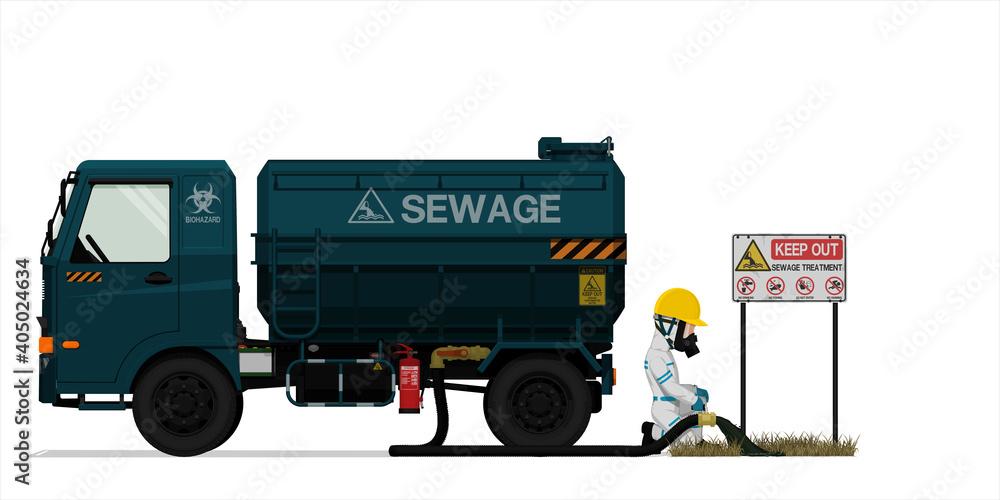 Fototapeta An industrial worker is releasing sewage on white background