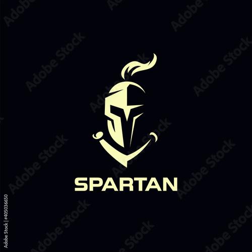 Obraz na plátně spartan knight helmet logo design