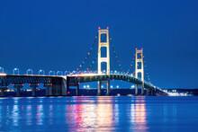 Mackinac Bridge At Night In Michigan