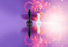 Futuristic Abstract Landscape, Sky, Purple Neon, Beautiful Pink Sunset, Heart Shape, Love, Magic, Chess, King And Queen Figures, Black And White Cage. Cloud Over Water, Heart Bokeh Light.