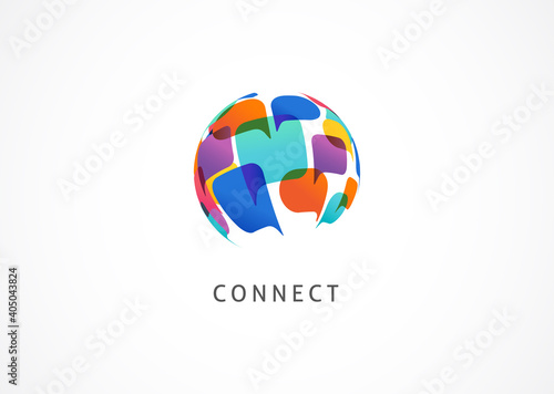 Fototapeta Communication, connect the world concept design, abstract logo template  obraz
