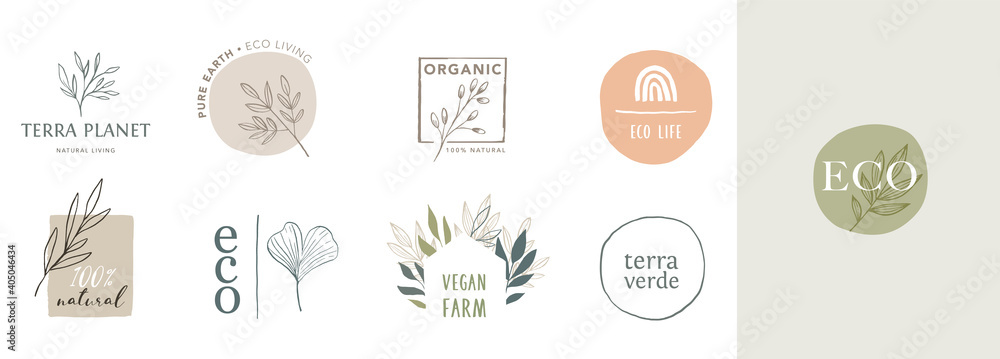 Fototapeta Collection of delicate hand drawn logos and icons of organic food, farm fresh and natural products, elements collection for food market, organic products promotion, healthy life and premium quality