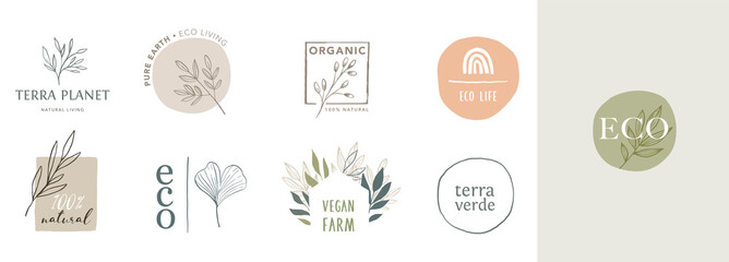 Panel Szklany Siatkówka Collection of delicate hand drawn logos and icons of organic food, farm fresh and natural products, elements collection for food market, organic products promotion, healthy life and premium quality