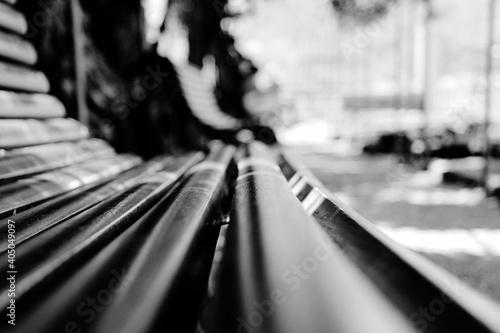 Obraz na plátně Surface Level Of Empty Wooden Bench