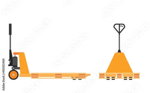 Stampa su Tela Hand pallet jack lift and wooden pallet isolated on white