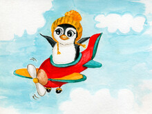 Сute Penguin In Yellow Knitted Hat Flies In Red Plane With Propeller. Blue Sky And White Clouds. Isolated On White. Watercolor Hand Drawn Element. Children's Illustration.