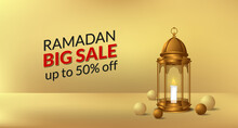Ramadan Culture Religion With 3d Illustration Of Golden Lantern Lamp And Ball Decoration For Sale Offer Banner