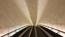 Low Angle View Of Illuminated Ceiling At Subway Station