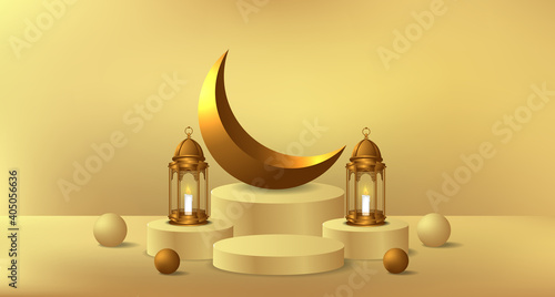 Foto cylinder podium product display for ramadan with 3d illustration of golden lante
