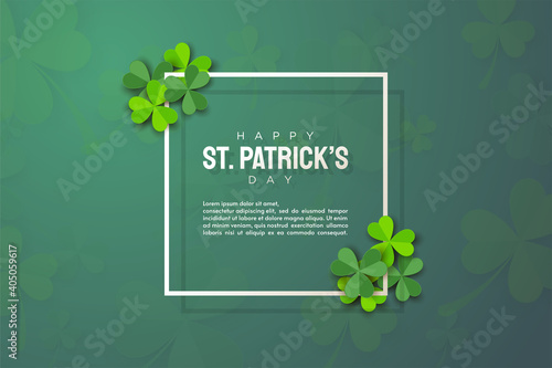 Carta da parati st patrick's day background with green leaves and thin rectangular lines