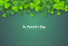 St Patrick's Day Background With Leafy Leaves.