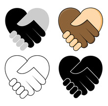 Shake Hand In Heart Shape - No Racism Concept Icon Set. Two Hands Dark And Fair Skin In A Handshake. Great For Symbol Of Tolerance Or Teamwork Between Different Ethnicity. Vector Design.