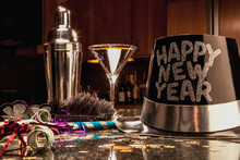 Martini, Hat And Cocktail Shaker At New Year's Eve Party