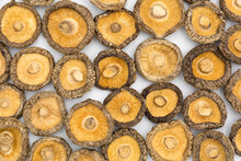 Chinese Dried Edible Mushrooms On White Background