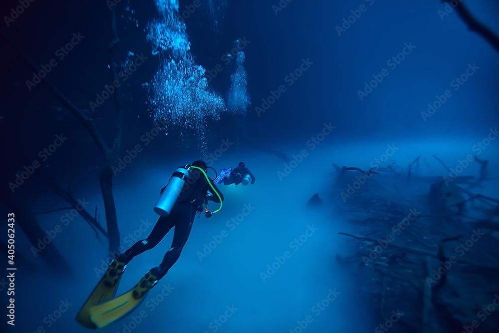 Obraz cave diving, diver underwater, dark cave, cavern landscape fototapeta, plakat