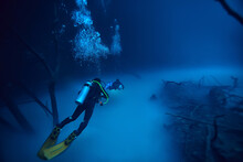 Cave Diving, Diver Underwater, Dark Cave, Cavern Landscape