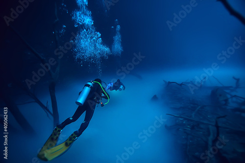 Fototapeta cave diving, diver underwater, dark cave, cavern landscape obraz