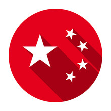 Red Flat Round Five Stars Of Flag Of People's Republic Of China Icon, Button With Long Shadow Isolated On A White Background. Vector Illustration.