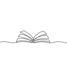 Continuous One Line Drawing Open Book With Flying Pages. Illustration Education Supplies Back To School Theme.