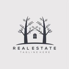 Real estate logo vector illustration design. tree house symbol.