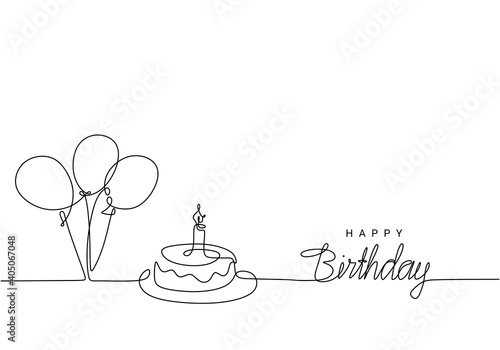 Happy Birthday continuous line drawing, handwritten lettering with symbolic party balloon and birthday cake. One hand drawn minimalist style.