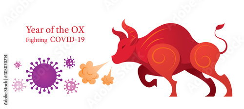 Fotografie, Obraz Year of the Ox, Zodiac, Fighting with Covid-19