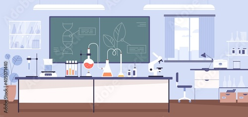 Obraz Inside modern scientific chemical laboratory or chemistry classroom interior. Microscope, glass tubes, flaks and other instruments and equipment for analysis and research. Flat vector illustration - fototapety do salonu