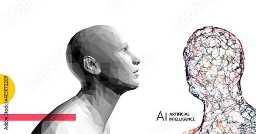 Obraz Human vs robot. Conflict of artificial intelligence and human mind. The concept of rivalry.  Scientific digital design template. 3d vector illustration for presentations, flyers or posters. - fototapety do salonu