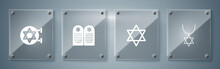 Set Star Of David Necklace On Chain, , Tombstone With Star David And Jewish Synagogue. Square Glass Panels. Vector.