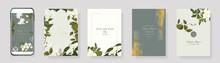 Green Luxury Wedding Invitation Set,  Invite Thank You, Rsvp Modern Card Design In Summer Leaf Greenery Branches  Decorative Vector Elegant Rustic Template