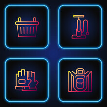 Set Line Hiking Backpack, Gloves, Bicycle Basket And Air Pump. Gradient Color Icons. Vector.