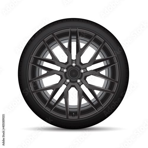 Realistic vector black alloy car wheel tire style sport on white background illustration.