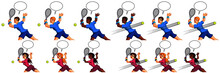Vector Illustration Of A Man And A Young Woman Playing Tennis With Speech Bubbles.