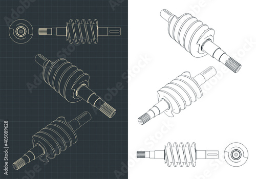 Obraz Spiral feed screw drawings - fototapety do salonu