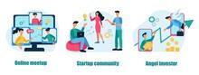 A Set Of Business Concepts And Metaphors. Online Meetup, Startup Community, Angel Investor. Teamwork, Business Development. Flat Cartoon Vector Illustration.