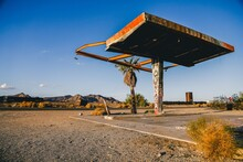 Abandoned Gas Station In The Middle Of The Desert