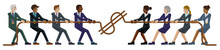 A Tug Of War Rope Pulling Business People Concept With Teams Of Men And Women Fighting Over Money Or Wages. Concept For The Struggle For Equality Or Equal Pay In The Workplace.