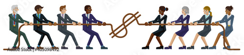 Fototapeta A tug of war rope pulling business people concept with teams of men and women fighting over money or wages