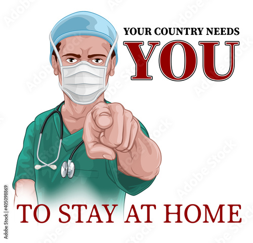 Cuadros en Lienzo A nurse or doctor in surgical or hospital scrubs and mask pointing in a your country needs or wants you gesture