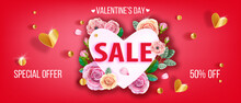 Happy Valentines Day Special Offer, Love Romantic Discount, Holiday Sale Web Banner With Heart, Roses. Promotional Flyer With Pink Flowers, Green Leaves On Red Background. Valentines Day Sale Banner
