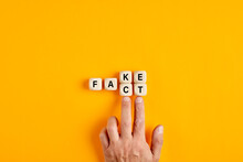 Male Hand Pushing The Wooden Cubes And Transforming The Word Fake To Fact