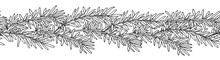 Seamless Pattern Of Rosemary Branch In Black With White Colors. Hand Drawing. Can Be Used As Seamless Brush For Wreath. Vector Illustration.